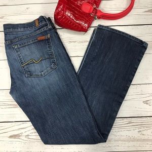 7 For All Mankind Bootcut Whiskered Faded Jeans